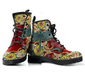 Red Floral Dragonfly Vegan Leather Boots