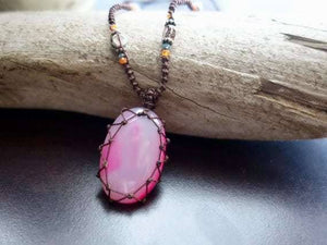 Pink Agate Macrame Necklace | Stone of Protection | Micro-Macrame | Unisex, Healing Crystal Jewelry