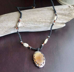 Milk Agate Macrame Necklace | Stone of Protection | Micro-Macrame | Unisex, Healing Crystal Jewelry