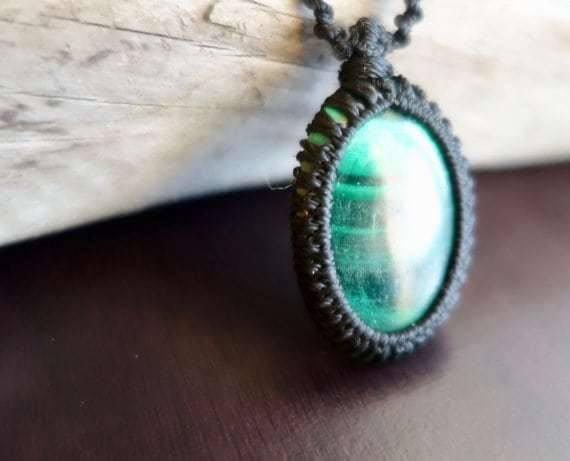 Green Malachite Macrame Necklace | Intense Amplification Healing Crystal