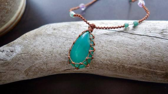 Green Onyx Macrame Necklace | Your Stone for Stength | Unisex, Healing Crystal Jewelry