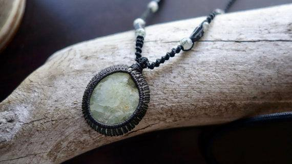 Prehnite Macrame Necklace | Stone of Prophecy | Unisex, Healing Crystal Jewelry