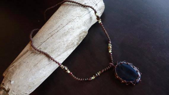 Blue Tiger Eye Macrame Necklace | Protection Stone | Unisex Healing Crystal