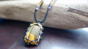 Tiger Eye Macrame Necklace | Stone for Protection | Unisex Healing Crystal | Micro Macrame