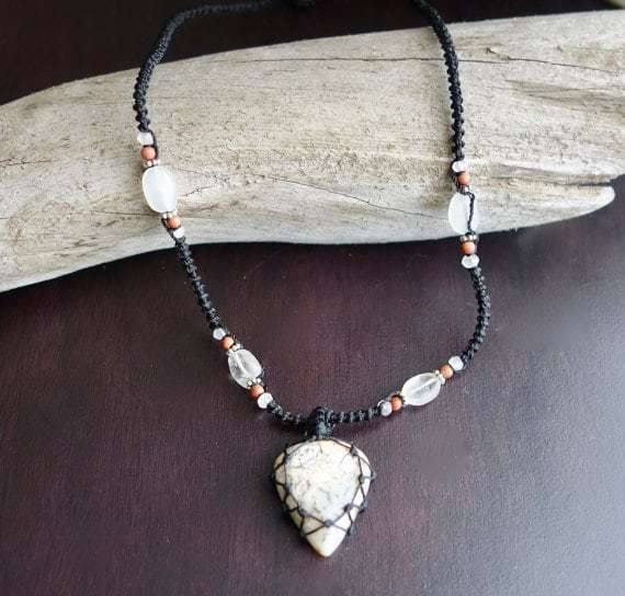 Tree Agate Macrame Necklace | Stone of Abundance | Micro-Macrame | Unisex, Healing Crystal Jewelry