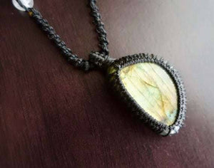 Labradorite Macrame Necklace | Stone of Transformation | Micro-Macrame | Unisex, Healing Crystal Jewelry