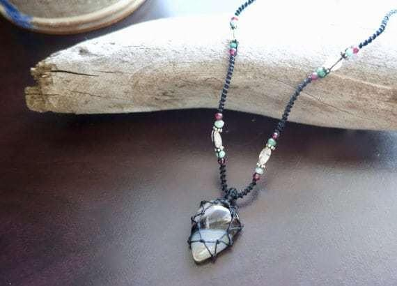 Black Onyx Macrame Necklace | Your Stone for Stength | Unisex, Healing Crystal Jewelry - Manifestie