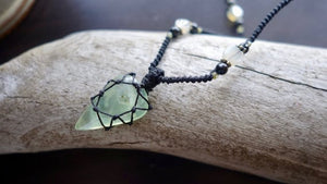 Green Calcite Macrame Necklace | Micro-Macrame | Cleansing Healing Crystal