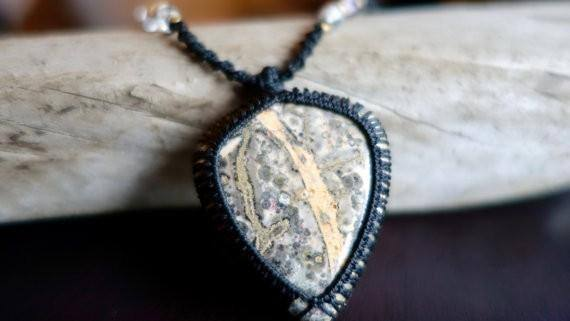 Long Leopard Skin Jasper Macrame Necklace | Stone of Relaxation | Unisex, Healing Crystal Jewelry
