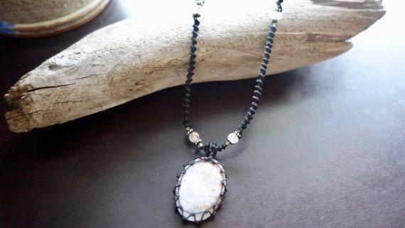 Jasper Macrame Necklace | Stone of Relaxation | Unisex, Healing Crystal Jewelry