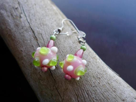 Glass Lampwork Bead Earrings | Pink and Green Dangle with Silver Accents