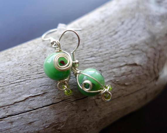 Elegant Glass Lampwork Bead Earrings | Green Dangle with Silver Accents