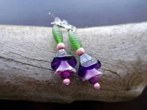 Tulip Glass Lampwork Bead Earrings | Purple Green Flower Dangle with Silver Accents