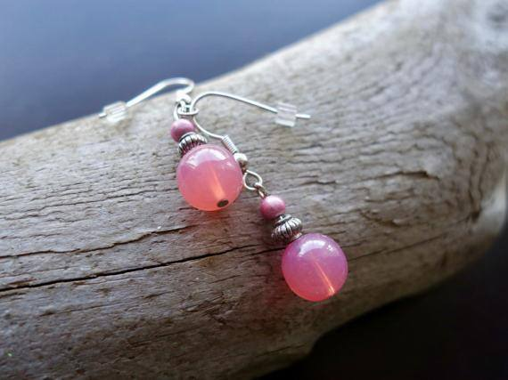 Glass Bead Earrings | Pink Dangle with Silver Accents