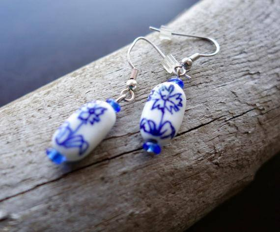 Elegant Flower Porcelain Ceramic Bead Earrings | White and Blue Dangle with Silver Accents