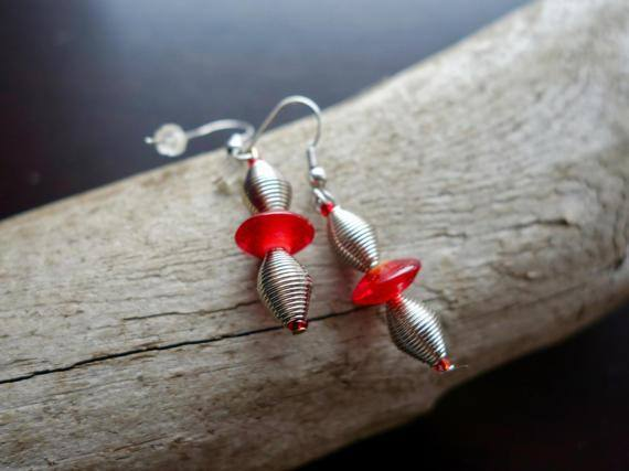 Elegant Glass Bead Earrings | Red and Silver Dangle with Silver Accents
