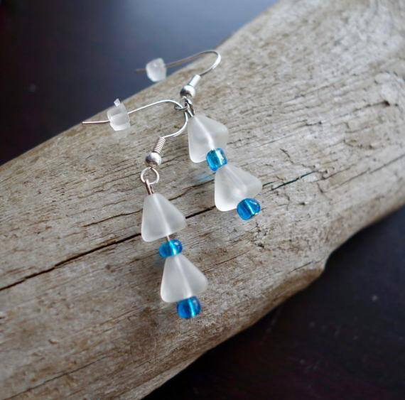 Glass Bead Earrings | White and Blue Dangle Bell with Silver Accents