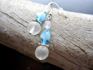 Glass Bead Earrings | White and Blue Dangle with Silver Accents