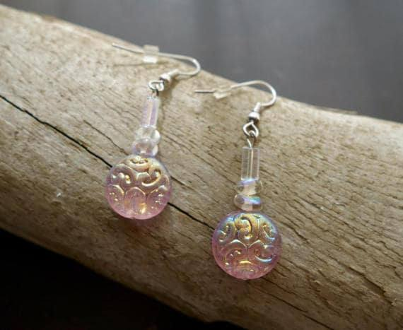 Glass Bead Earrings | Clear Pink Rainbow Crystal Dangle with Silver Accents