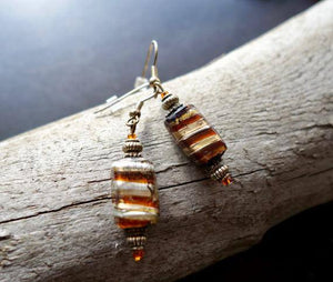 Elegant Glass Lampwork Bead Earrings | Brown and Gold Dangle with Silver Accents