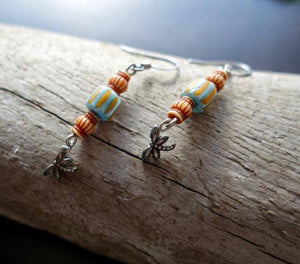 Dragon Fly Bead Earrings | Brown Blue and Silver Dangles | insect