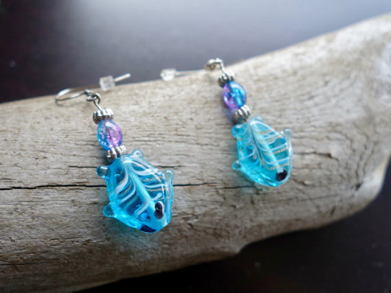 Fish Glass Bead Earrings | Blue Dangle with Silver Accents.
