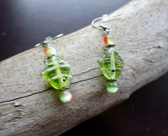 Fish Glass Bead Earrings | Green and Orange Dangle with Silver Accents