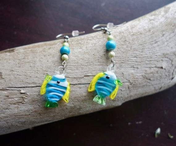 Fish Glass Bead Earrings | Blue and Yellow Dangle with Silver Accents