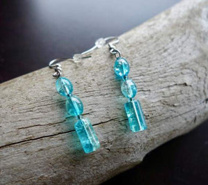 Elegant Glass Bead Earrings | Teal Blue Dangle with Silver Accents