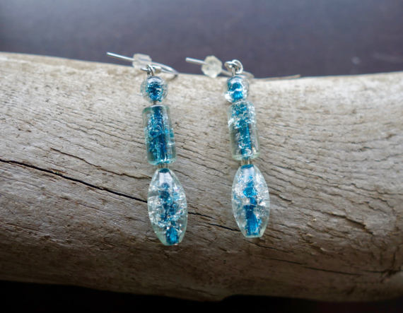 Elegant Glass Bead Earrings | Clear Blue Dangle with Silver Accents