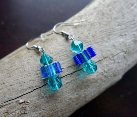Elegant Glass Lampwork Bead Earrings | Blue Dangle with Silver Accents