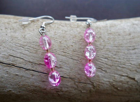 Elegant Glass Bead Earrings | Pink Dangle with Silver Accents