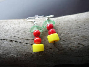 Fruit Basket Glass Bead Earrings | Yellow Fruit Dangle with Silver Accents | Cherry Lemon