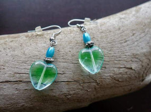 Elegant Glass Bead Earrings | Green and Blue Heart Dangle with Silver Accents