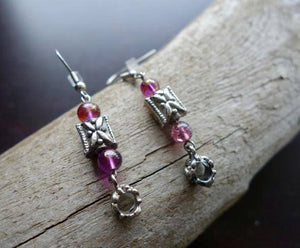 Butterfly Bead Earrings | Pink and Silver Dangles | insect
