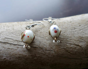 Glass Lampwork Bead Earrings | White Dangle