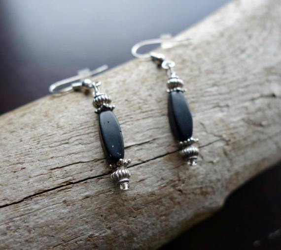 Bead Earrings | Black Dangle with Silver Accents - Manifestie