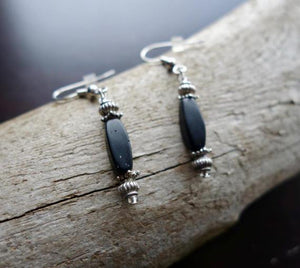 Bead Earrings | Black Dangle with Silver Accents