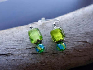 Elegant Glass Lampwork Bead Earrings | Blue and Green Dangle with Silver Accents