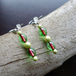 Watermelon Seed Glass Bead Earrings | Green and Red Dangle with Silver Accents | Summer Ready