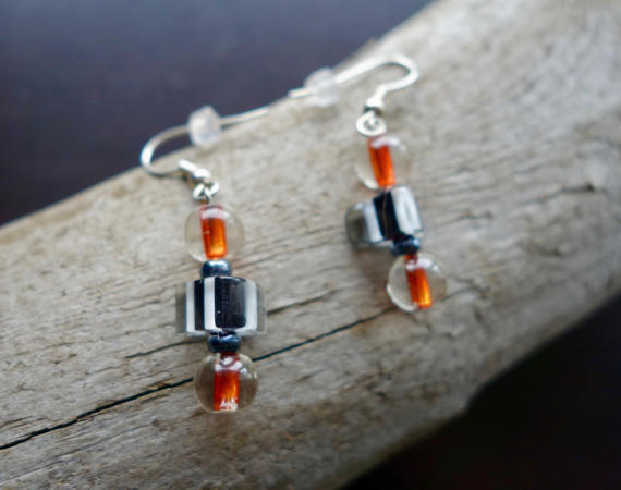 Orange and Black Glass Lampwork Bead Earrings | Dangle with silver accents