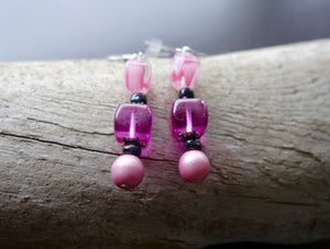 Pink Glass Bead Earrings | Dangle with silver accents