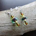 Green and Blue Glass Lampwork Bead Earrings | Dangle with silver accents
