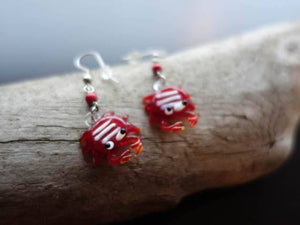 Crab Bead Earrings | Red Crabby Dangles | Hawaiian | Ocean Animal