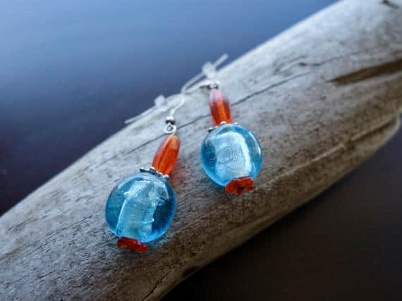 Glass Lampwork Bead Earrings | Blue and Orange Dangle with Silver Accents
