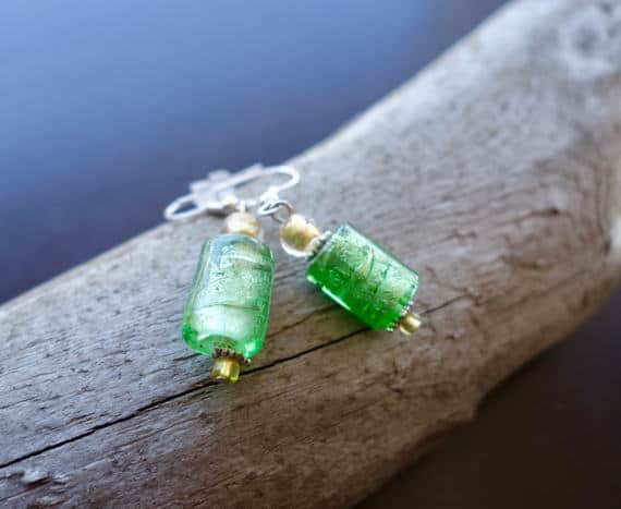 Elegant Glass Lampwork Bead Earrings | Green and Gold Dangle with Silver Accents
