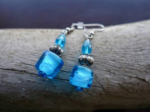 Glass Lampwork Bead Earrings | Blue Teal Dangle with Silver Accents