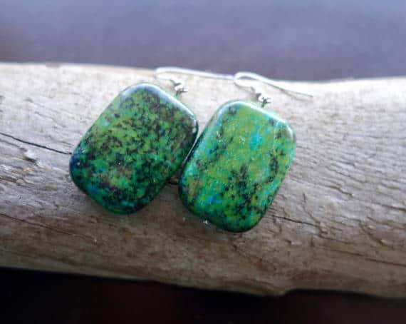 Chrysocolla Bead Earrings | Blue and Green Dangles