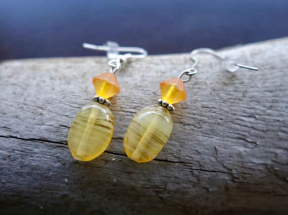 Elegant Glass Bead Earrings | Yellow Orange Dangle with Silver Accents