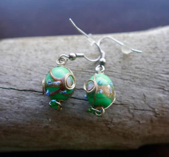 Elegant Glass Lampwork Bead Earrings | Green and Blue Dangle with Silver Accents